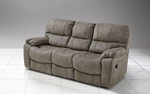 Dafnedesign.Com – Sofá de 3 plazas con 2 reclinadores eléctricos, color gris...