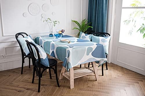 Agoble Mantel Antimanchas Rectangular Impermeable, Manteles Pequeños Antimanchas Poliéster 135X250cm Azul Impresión Textil de Guijarros