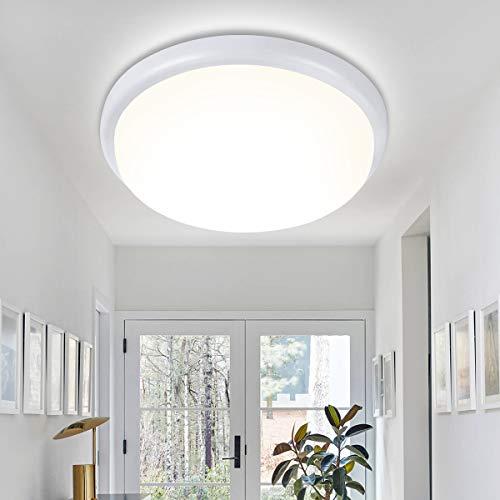 Oeegoo LED Deckenleuchte Bad, IP54 Wasserfest Deckenlampe Bad Rund, 18W 1440Lm Led Badezimmerlampe, Flimmerfreie LED Wandleuchte für Flur Keller Balkon Küche Werkstatt, 4000K