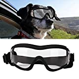 Dog Goggles, Anti-UV Eye Protection Puppy Sunglasses Waterproof Windproof Anti-Fog Sunglasses(Transparent)