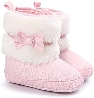 LIVEBOX Baby Girls' Premium Soft Sole Bow Anti-Slip Mid Calf Warm Winter Infant Prewalker Toddler Snow Boots (S: 0~6 Months, Pink)