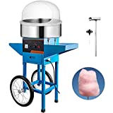 VBENLEM Cotton Candy Machine Commercial with Bubble Cover Shield and Cart Cotton Candy Machine Candy Floss Maker Blue 1030W Electric Cotton Candy Maker Stainless Steel for Various Parties