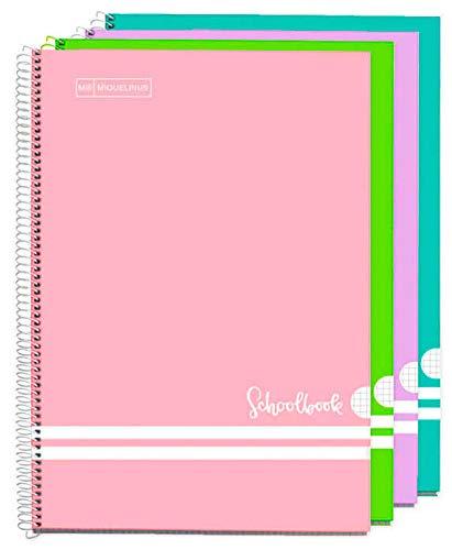MIQUELRIUS - Pack Cuadernos A4 Cuadriculados 3+1 - Espiral, Cubierta de Cartón Forrado, Tamaño 215 x 309 mm, 80 Hojas de 90 g/m², Cuadrícula de 4 mm con margen, Colores Pastel