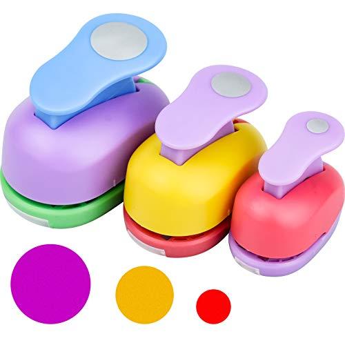 3 Piezas Troqueladora Circulo, Perforadora Circulo Creativo 8mm 15mm 25mm para Proyectos DIY Scrapbooking Creación de Tarjetas - Plásticos