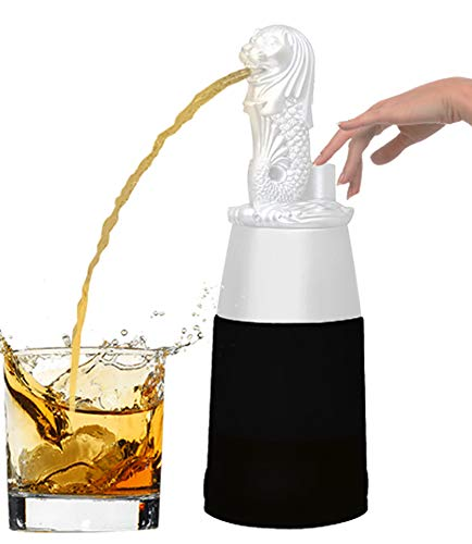 Barraid Singapore Lion White Round Shape with Black Jar Liquor Dispenser 500 ML Capacity