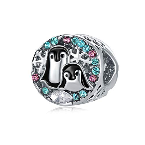 Pandora 925 Jewelry Bracelet Natural Fashion Hollow Crystal Round Penguin Charms Beads Bangles Year Trinkets Women Diy Gifts