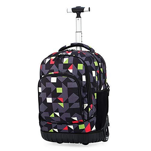 Student Trolley Schultasche Jungen und Mädchen Rucksack mit doppeltem Verwendungszweck aufhellende Reisegepäck Rolldruck senken auf Zurück (Color : E)