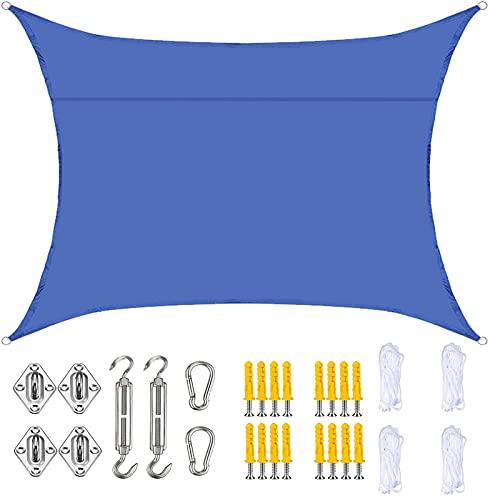 YLSS Toldos Rectangulares De Jardín, Toldos De Toldo Impermeables con Bloqueo UV del 90% con Kit De Fijación, para Césped De Patio Trasero Al Aire Libre De 2,5 X 2,5 M,Azul