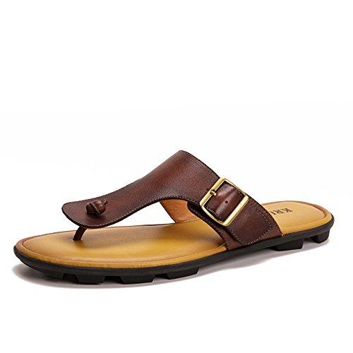 Lpinvin - Chancletas para hombre de verano, sandalias de playa, para interior y exterior, para uso informal, para baño, jardín, sandalias cómodas (color: marrón, tamaño: 38)