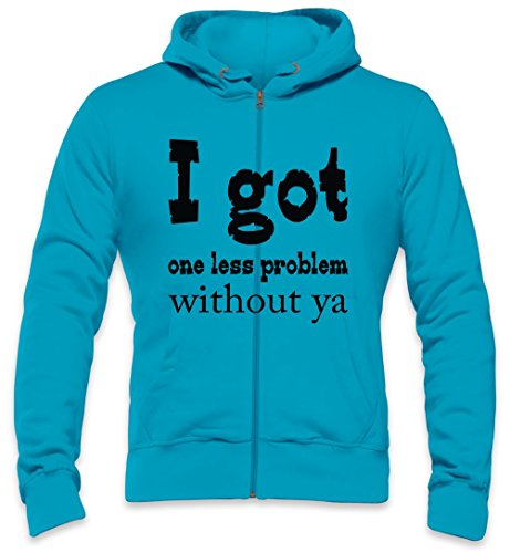I Got One Less Problem Without Ya Slogan Mens Zipper Hoodie Large