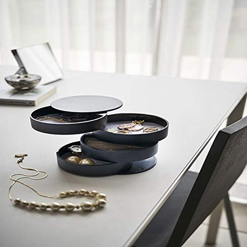 Joyería pequeña Caja, la sentencia Redonda de la joyería, joyería rotación de Caja, Creativa de 4 Capas joyería giratoria de Escritorio Caja Protectora de la Caja de almacenaje, Monsteramy