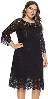 Extaum Women Vintage Plus Size Dress Lace O-Neck Three Quarter Sleeve Hollow Out Elegant Party Midi Dress Black/Red
