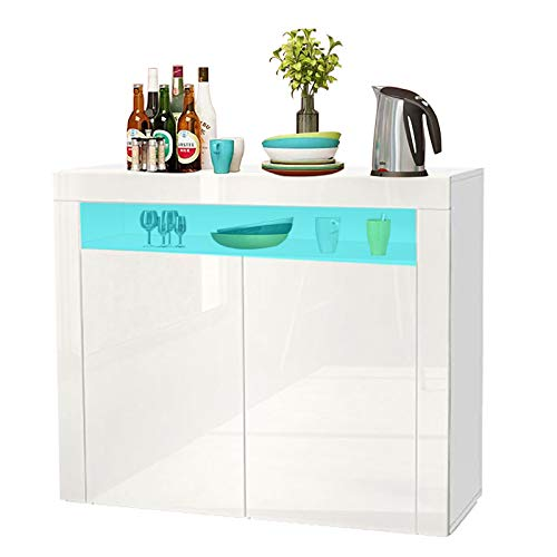Dripex LED Sideboard Cabinet - Storage Cupboard unit with Matt Body & High Gloss Front for Dining Room Living Room (White 2 Doors)