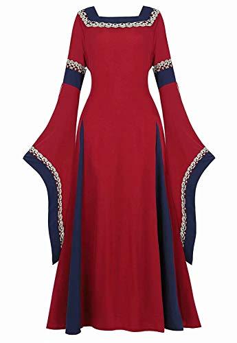 jutrisujo Vestito Medievale Donna Rinascimentale Abito Costume Manica Lunga Fancy Cosplay Vestiti Vintage Carnevale Halloween Blu Rosso XS