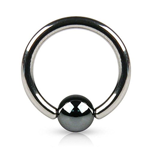 Inspiration Dezigns 14G Captive Bead Ring with Hematite Plated Bead - Sold Individually (Length: 1/2')
