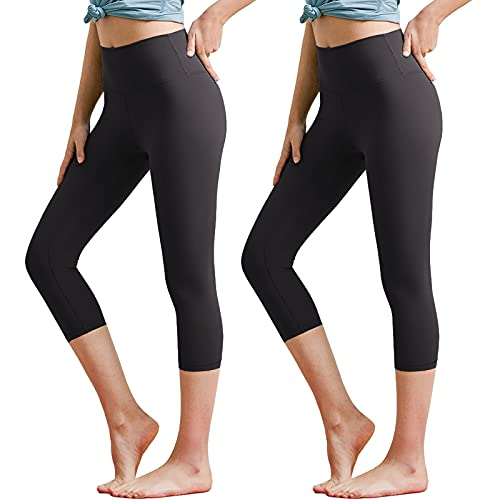 NEW YOUNG 2 Pack Capri Leggings for Women-Workout High Waisted Tummy Control Black Yoga Pants for Running Cycling Exercise (Black&Black, Large-X-Large)