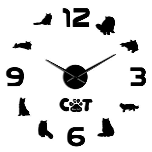 yage Gato Ragdoll Cat DIY Reloj de Pared Grande 3D Silueta de Gato Arte de la Pared Pegatinas de Espejo Gato Mascota Decoración del hogar Ragdoll Lover Gift