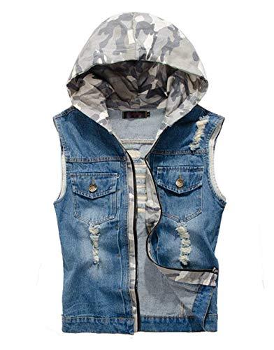 Herren Weste Kapuzenjacke Slim Fit Cowboy Im Herrenmode Design Modern Weste Rmellose Jeansweste Jeansjacke Coat Outwear (Color : Blau, Size : M)