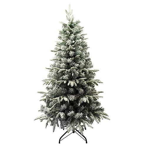 Árbol de Navidad Flocado con Copos de Nieve Abeto Artificial Nevado Automontable C/Soporte Metálico 120-210cm (150cm 548Tips, Flocado)