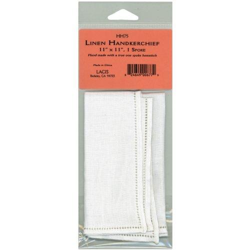 Lacis linnen zakdoek 27,9 cm x 27,9 cm Single spoke-white, andere, meerkleurig