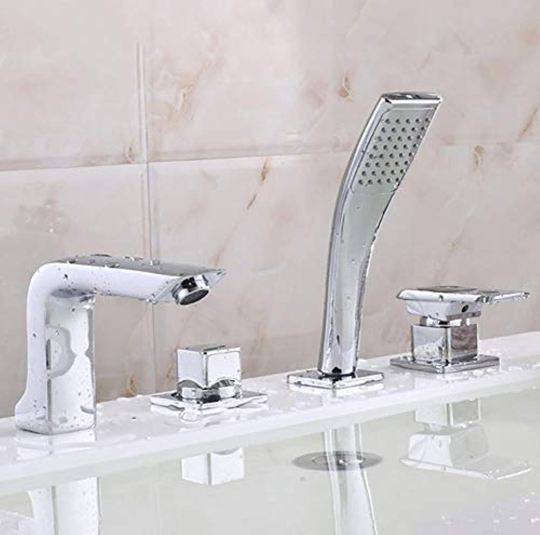 WYRSXPY Waschtischarmatur Badewanne Wasserhahn, Europisch Kreativ Familie Hotel Kalt- Und Warmwasserhahn, Kupfer Material, 4-Loch-InsGrößetion (Farbe   Silber)