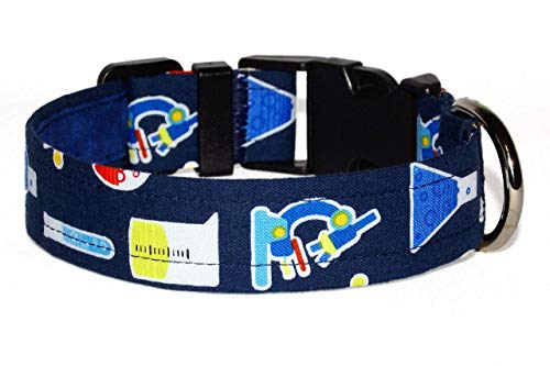 Chemistry Dog Collar - Test Tubes and Microscopes on Navy Blue - 100% Cotton - Size Medium Adjusts 12 to 17 Inches - 1 Inch Wide