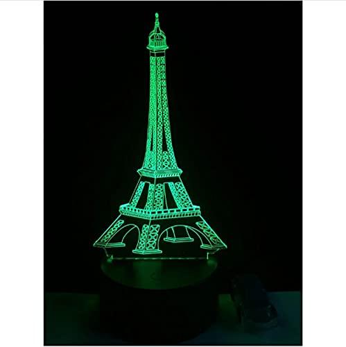 Torre Eiffel Decoración Para El Hogar Iluminación 7 Colores Luz Nocturna Lámpara De Mesa Led 3D Lámpara De Ilusión Óptica Acrílica