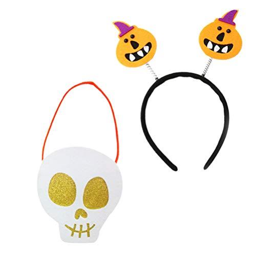 Minkissy Diadema de Fiesta de Cumpleaños de Dibujos Animados Naranja Calabaza Pelo Aros Cráneo Diseñado Bolsa para Fiesta Favor Suministros 2 Piezas