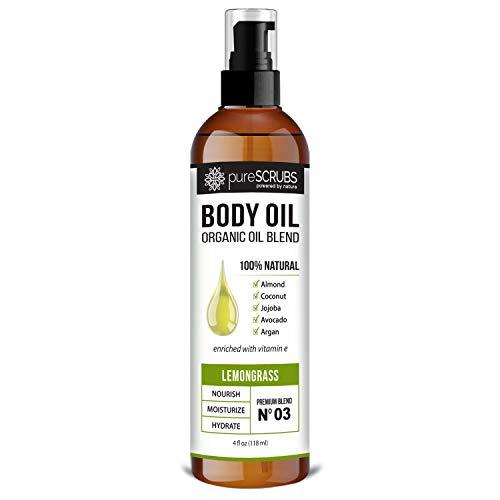pureSCRUBS Ultra Moisturizing LEMONGRASS BODY OIL Spray For Dry Skin Massage amp More Organic Super Blend of Jojoba Argan Coconut Sweet Almond amp Avocado Oils Enriched with Vitamin E  Lg 4oz