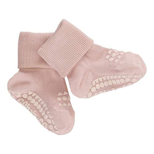 GoBabyGo Chaussettes antidérapantes originales pour bébé | Support antidérapant pour enfants actifs | Coton de bambou (Soft Pink, 6-12m (17-19cm))