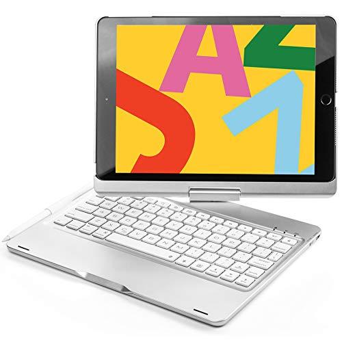Mrkyy Teclado para iPad de 7ª generación y 8ª generación de 10,2 pulgadas 360° giratorio Bluetooth teclado inalámbrico con función de encendido y apagado automático y lápiz para iPad Air 10,5 pulgadas (3ª generación)/iPad Pro 10,5 – Plata