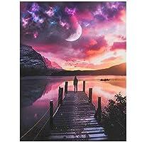 artaslf ダイヤモンド絵画フルスクエアダイヤモンド象眼細工の風景ダイヤモンド刺繍太陽と月の風景家の装飾壁-40x50cmフレームなし