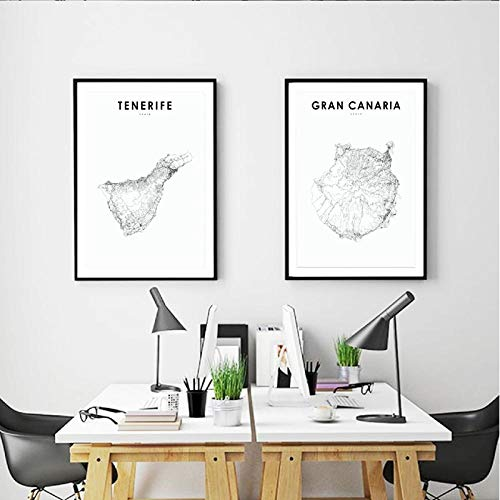 kldfig Spaanse kaart kunst poster Gran Canaria Teneriffa kaart afdrukken moderne muurkunst canvas schilderij afbeeldingen kinderkamer muur kantoor decoratie 40 * 50 cm niet ingelijste 2 stuks