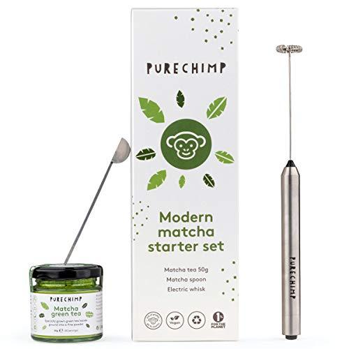 Modern Matcha Starter Set by PureChimp - 50g Matcha Tea + Electric Whisk + Matcha Spoon