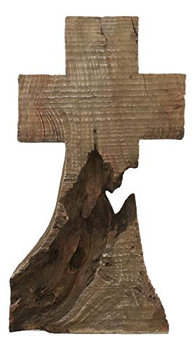 Ebros Gift Rustic Western Distressed Wood Faux Trunk Root Sculpting Standing Cross On The Mountain Summit Statue 3D Art Desktop Vintage Decor Sculpture 11.75'H Catholic Christian Crosses