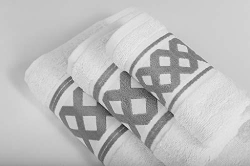 Energy Colors Textil - Hogar - Cenefa Siria - Juego de Toalla 3 Piezas 100% Algodón de 500 Gramos Ducha Lavabo y Vidé (Beige Marrón)