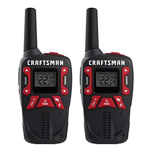 CRAFTSMAN 25-Mile Long Range Walkie Talkies for Adults - Weather Resistant, Rechargeable Two Way Radios with VOX - CMXZRAZF333 (2 Pack)