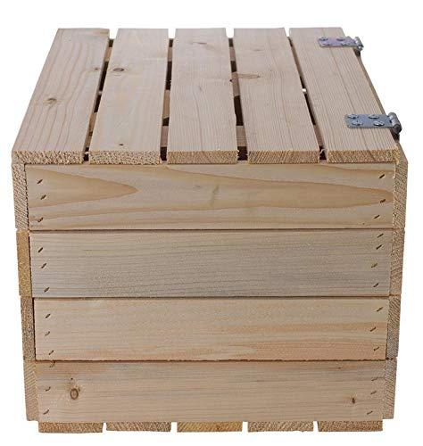 Helle Natur Holztruhe 49cm x 36cm x 29cm Obstkisten Weinkiste Truhe unbehandelt Vintage Look Landhaus Wohnzimmer Schatztruhe Kiste aus Holz - 4
