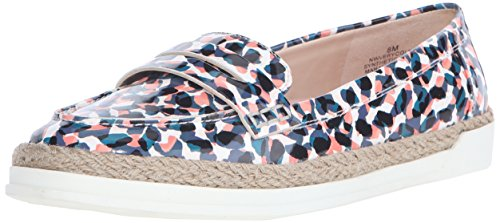 NINE WEST Women's VERYCOLD Synthetic Boat Shoe, Blue/Multi, 5.5 M US