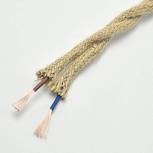 Cuerda vintage trenzada de alambre eléctrico trenzado cuerda de cáñamo, cable trenzado...
