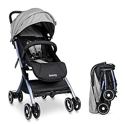 besrey Baby Stroller Lightweight Easy Fold Compact Travel Stroller for Airplane Kids pram with Reclining Seat for Baby Sleep - Gray