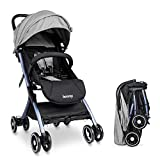 besrey silla paseo bebe ligera compacta cochecito viaje avión solo 4,9 kg carritos de bebe plegable 6-36 meses,gris