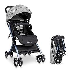 besrey ljus barnvagn flygplan buggy med liggande position kan ta till planet små hopfällbar för baby från födseln till 3 år – grå