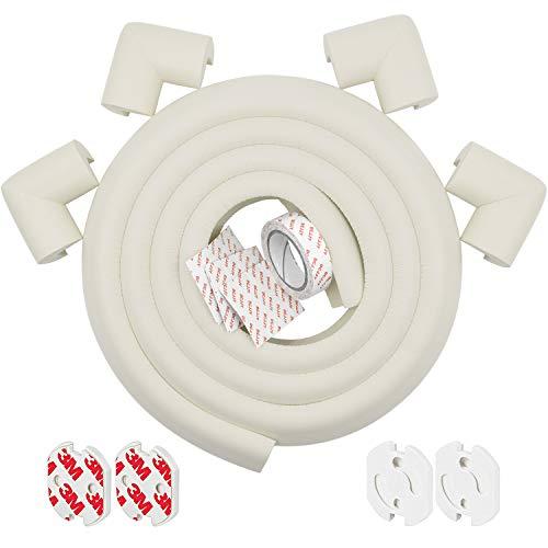 FEIGO 2 m lange randbescherming van schuimrubber + 4 hoekbeschermers 4 stekkerdoos tafelrand kussen geurloos kinderbescherming voor meubels scherpe hoeken tafelbescherming