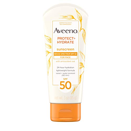Aveeno Protect + Hydrate Face-Moisturizing Sunscreen Lotion with Broad Spectrum SPF 50 & Antioxidant Oat, Oil-Free, Lightweight, Sweat- & Water-Resistant Sun Protection, Travel-Size, 3 oz