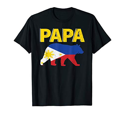 Mens Philippine Flag Papa Bear | Filipino Dad Father's Day Gift T-Shirt