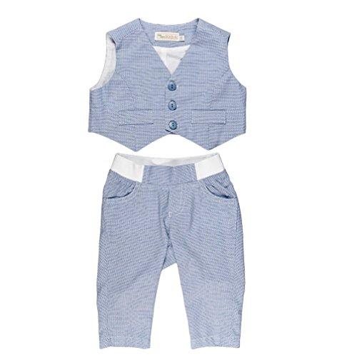 MMdadak Baby Set für Jungen Taufset Weste und Hose hellblau Nr. 4 (86)