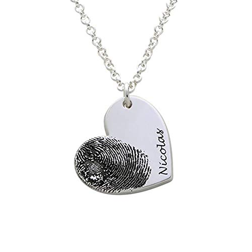 Aosida Benutzerdefinierte Fingerabdruck Halskette Personalisierte Gravierte Fingerabdruck Schmuck Herzanhänger Memorial Anhänger Geschenk Graviert für Muttertag Weihnachten