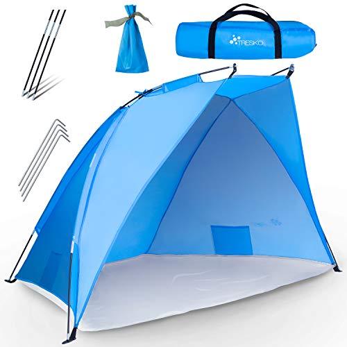 TRESKO Tienda de Playa Anti UV 50+ | Carpa de Refugio de Sol | Tienda de Campaña con Protección Solar Portátil y Plegable