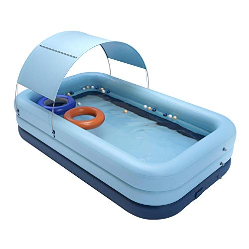 SYFANG Inflable automático inalámbrico niños bebé Adulto inflador Piscina con toldo Azul 260x160x68cm-azul